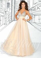 Tiffany 16030 Champagne White Stunning Pageant Prom Ball Gown Dress sz 6