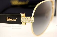 Brand New Chopard Sunglasses SCH 866S 0300 Gold Black/Gray Women 100% Authentic