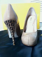 FENDI WOMEN FF SUPERSTAR BEIGE PATENT LEATHER MONOGRAM HEEL PUMP SHOE 35.5 5.5