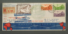 1937 Shanghai China FFC First Flight Cover to San Francisco USA W Map Route CNAC