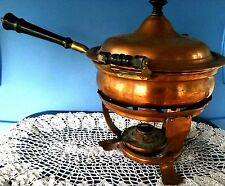 Antique Copper Porcelain Chafing Dish Manning Bowman Meriden Conn Pan Serving