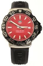 AUTHENTIC TAG HEUER FORMULA 1 WAH1112.BT0714 BLACK RUBBER SWISS RED QUARTZ WATCH