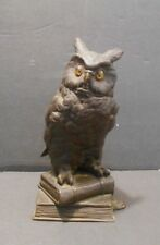 Antique Bronze Figure of Owl Perched on Books Glass Eyes Quality