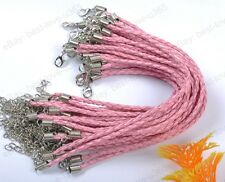 FREE SHIP 20pcs Pink Braided Leather Charms Bracelets Cord 190MM BE755