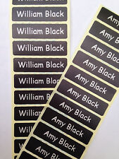 50 BLACK Printed Name Labels/Tapes IRON-ON School tag Soft satin fabric