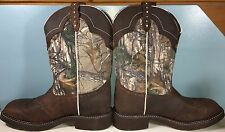 JUSTIN WOMEN'S WESTERN COWBOY BOOTS AGED BARK, STYLE  L9609 SIZE: 10+1/2 B