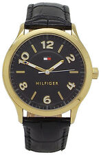 Tommy Hilfiger 1770012 Black Dial Black Leather Strap Women's Watch