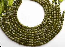 "NATURAL GEM VESUVIANITE 6MM FACETED BOX BEADS 125CTS. CUBE SHAPE 10"" STRAND"