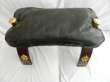 """Egyptian Camel Leather Brown Wood Camel Saddle Footstool 19.5"""" X 10"""" & 14"""" High"""