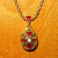Russian FABERGE Golden Green & Red Cross ENAMEL Swarovsky Crystals EGG pendant