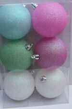 GISELA GRAHAM CHRISTMAS PASTEL GLITTER  MOULDED ACRYLIC BUABLE DECORATION X 6