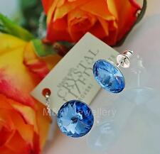 STUDS EARRINGS SWAROVSKI ELEMENTS RIVOLI LIGHT SAPPHIRE 12mm STERLING SILVER 925