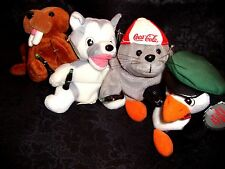 COCA COLA BEAN BAG PLUSH COLLECTIBLES 4-SET NEW TAGS HUSKY PENGUIN SEAL WALRUS