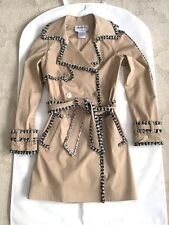 04P CHANEL Beige Sequin Belted Trench COAT JACKET FR-34/36