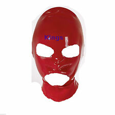 Latex Hood Full Mask Open Mouth & Eyes 3 Holes Stretchy Red Gimp Mask Hood