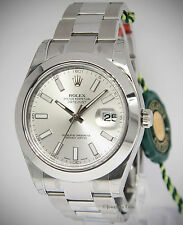 Rolex Datejust II Stainless Steel Silver Dial Mens Watch Box/Papers NOS 116300