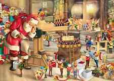 1000 Piece Jigsaw Puzzle Santa & Elf Helpers in Christmas Toy Workshop Grotto
