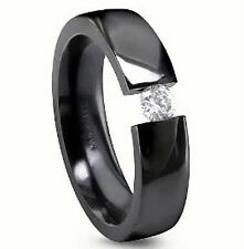TITANIUM TENSION Black Plated RING with 3.5mm Round CZ, size 7 - Comfort Fit