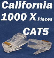 1000 X Pcs RJ45 Plug Cat5 Modular LAN Network Connector Internet Ethernet Cable