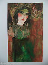 Cuban Cuba Artist Charo Hand SIGNED Painting LADY DARK COLORS STERN HAVANA 52