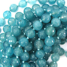 "12mm faceted jade round beads 6"" strand aquamarine blue"
