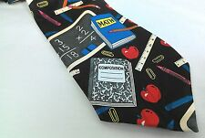 Steve Harris Novelty Back to School Apple Notebook Mens Necktie Neck Tie
