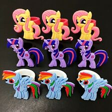 9PCS Girls Rings My Little Pony Cartoon Rings Plastic Rings Party Child Gifts