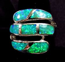 "Sterling 925 Silver SF Size 6 Ring Large Gorgeous Green Lab Fire Opal 3/4"" W"