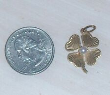 BEAUTIFUL VINTAGE 14KT 4/FOUR LEAF CLOVER CHARM W/PEARL PRE-OWNED!