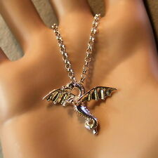 new sterling silver flying dragon pendant & chain