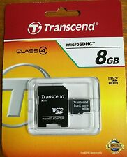 Transcend MicroSDHC 8GB C4 Micro SD Card w/ Adapter