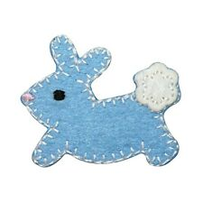 ID 3347B Blue Cottontail Baby Bunny Rabbit Felt Stitched Iron On Applique Patch