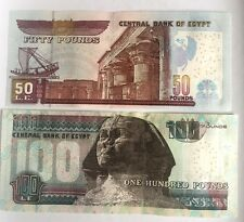 EGYPT Set of 2 Egyptian Notes100 & 50 Pounds  Egyptian Pounds Banknote Money