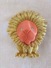 Vintage BOUCHER Faux Coral & Rhinestone Lion Brooch Pin Exquisite Estate