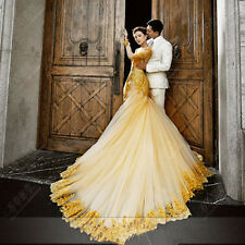 Gold Long Sleeves Train Evening Dresses Mermaid Quinceanera Prom Party Ball Gown