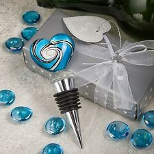 Stunning Murano Heart WEDDING Wine Bottle Stopper Favor Party Gift Drink Glass