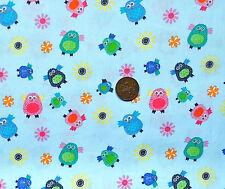 Azul con un patrón de Buhos en Multicolours, para niños 100% Tela De Algodón F.q.