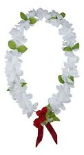Hawaiian Lei Party Luau Floral Princess Plumeria Silk Dance Flower All White