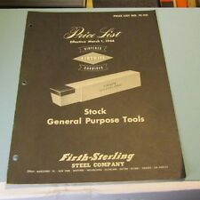 1944 Firthite Steel Company Catalog Price List FE-110 General Purpose Tools