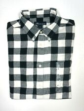 NEW MENS JOHN ASHFORD IVORY CLOUD BLACK CHECKERED FLANEL CASUAL DRESS SHIRT SZ S