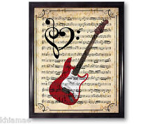 I LOVE GUITAR 10 x 8 MUSIC SHEET ART PRINT dictionary poster rock band vintage
