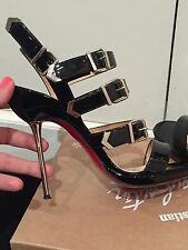CHRISTIAN LOUBOUTIN METAL HEELED BLACK PATENT CHROME ARROW STRAPPY SANDALS 39.5