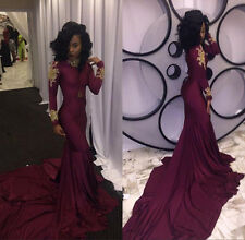 Gold Appliques Burgundy Mermaid Prom Dresses Evening Pageant Party Gowns Custom