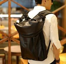 2016 black Men Travel Leather backpack rucksack sport biker Messenger school Bag