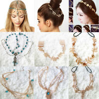 Head Chain Women Gold Metal Rhinestone Jewelry Headband Head Piece Hair band