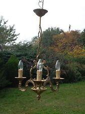 Insolito Vintage Francese 3 Braccio Lampadario in bronzo della gabbia (bdm102)