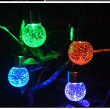 Outdoor 7color Solar Power Crackle Sphere Light Hanging Light Festival Decor US