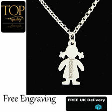 Children Girl Plated Family Personalised Engraved Name Necklace Silver Plated UK