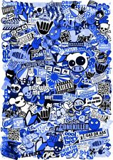 A4 Size JDM Style BLUE Tint Vinyl Sticker Bomb Sheet Drift Style Ratlook UK Made