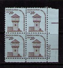 US USA Sc# 1604 MNH FVF PL# BLOCK Remote Outpost Log Fort Tower 28ct Americana